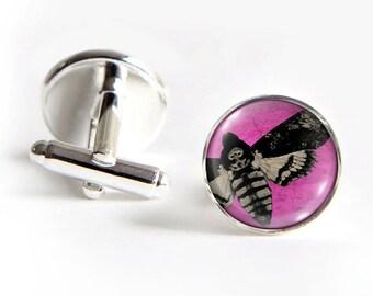 Death's Head Moth Cufflinks silver 18mm cuff links