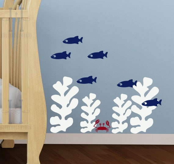 Kids beach bedroom wall decals seaweed stickers fish wall for Beach wall decals