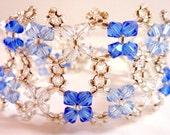 Blue White Cuff Bracelet,  Sapphire Light Sapphire Crystal White Swarovski Crystal Woven Double Strand Cuff Bracelet, Sale Price