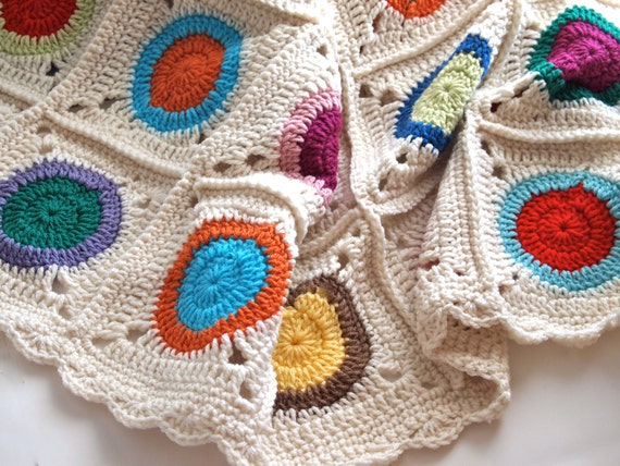 Reserved for Valerie - Multicolor granny square crochet blanket with cream background