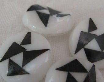 Set of 4 VINTAGE Black & White Glass BUTTONS