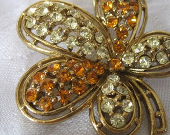 VINTAGE Orange & Yellow Rhinestone Gold Metal Flower Costume Jewelry Brooch