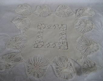 VINTAGE White Spider Thread Needlework Lace Doily  M