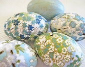 Easter Eggs sky blue spring green origami decoupage floral cherry plum blossoms waves gold