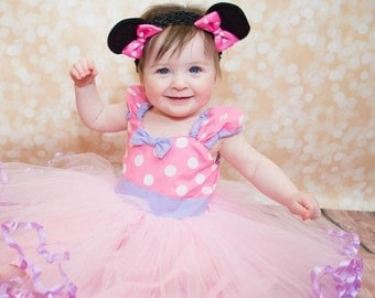 Baby MINNIE MOUSE dress TUTU  Party Dress  in light pink Polka Dots super twirly  dress 1st Birthday party