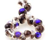 10 Handmade Teardrop Lampwork Glass 13 mm Boro Beads, Metallic series: Azure Spark (22056)