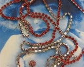 Price Slashed 50% Vintage Rhinestone 6ft Belt or Necklace Ruby Red Crystals 2231SIL x1