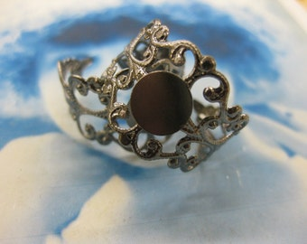 CLEARANCE Antique Gun Metal Ox Plated Filigree Adjustable Rings 952BLK x4