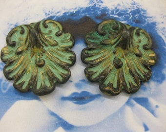 Verdigris Patina Brass Shell Stampings 2237VER  x2