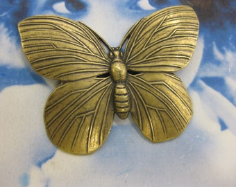 Brass Ox Plated Butterfly Stamping  329BOX x1