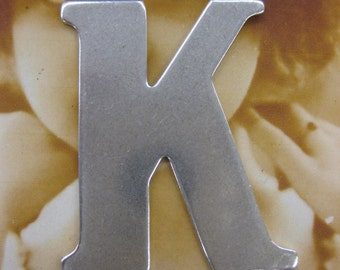 Silver Ox Plated Large Brass Letter K Stamping 599SOX x1