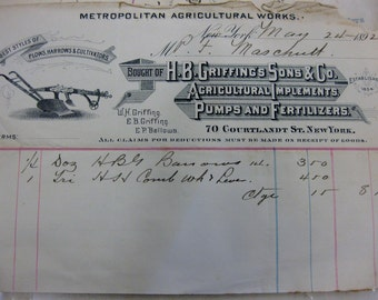 Antique Ephemera 1892 Metropolitan Agricultural Works Receipt