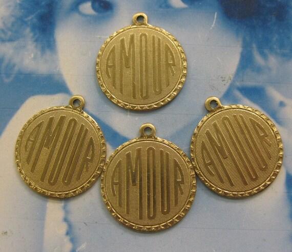 Raw Brass Amour Charms 372RAW x4