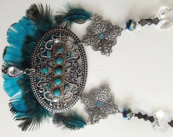 Vintage Crystals Turquoise and Pheasant Feathers Necklace