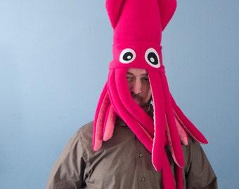 Large Plush Squid Hat - Hot Pink