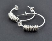Reticulated Sterling Silver Earrings. White. Post. Handmade by Maria Goti Joyas
