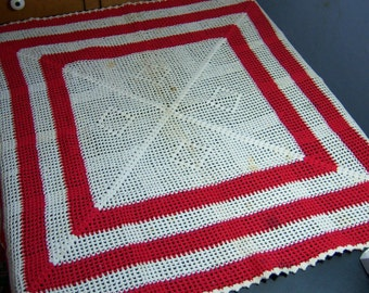 Vintage Hand Crocheted Red and White Table Cloth Topper 24 inch by 24 inch
