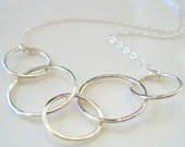 Handmade sterling silver chain link necklace, modern, minimalist, hand hammered, elegant, simple, hoop necklace chain links  - made to order