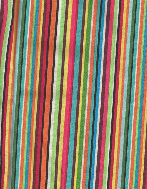 blue orange green pink stripes cotton fabric 1 yard more. Black Bedroom Furniture Sets. Home Design Ideas