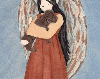 Chocolate/Brown Poodle cradled by angel / Lynch signed folk art print