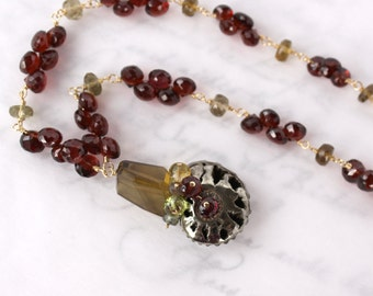OOAK Pyritized Ammonite Druzy Fossil Shell Necklace with Garnets and Whiskey Quartz in Gold - SALE 50% Off