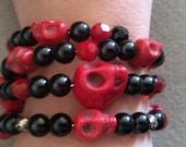 Sugar skull, sugar skull bracelet,Day of the dead, Dia de los Muertos, skull ,red skull, frida, frida skull,skull jewelry