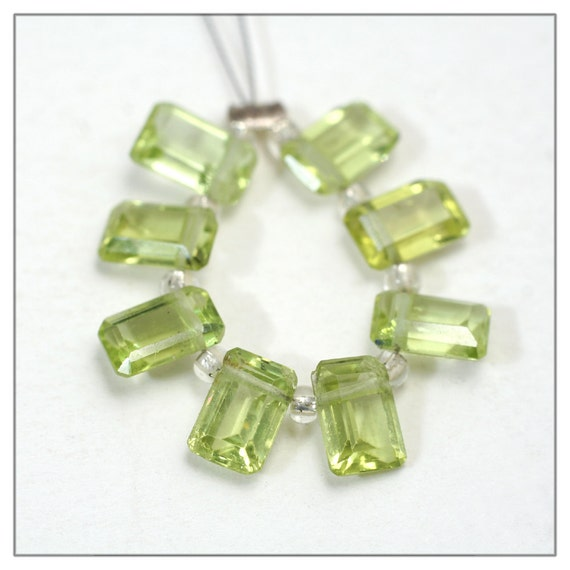 Peridot briolette beads - faceted baguette gemstones set of 8 - genuine peridot apple green stone 4x6 mm baguettes - august birthstone SALE
