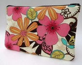 Makeup Bag Slim in Cream Floral Charm