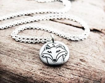 Tiny sly fox necklace, silver, eco friendly, fox jewelry