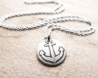 Tiny anchor necklace, silver anchor pendant nautical jewelry, eco friendly reclaimed silver
