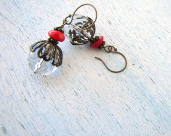Earrings Clear Crystal Acorn and Hot Red Coral FREE SHIPPING