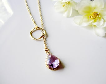 Amethyst Lariat Necklace, Gold, Lavender, Gold Circle, Bridesmaid Necklace, Bridal Jewelry, Girlfriend Gift