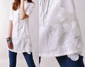 SALE - Free Shipping - Flying flowers - artist light linen tunic (Y3117S)