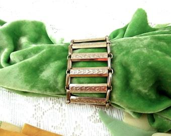 Vintage Silver Floral Bar Bracelet - Circa 1920s