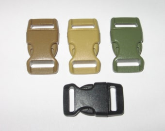 """100 ct 5/8"""" side release buckles for paracord braclets black, coyote, OD green, or a mix"""