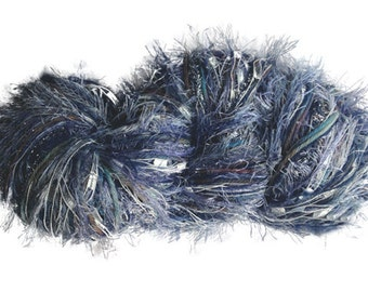 Stranded Skeins OOAK 3-strand multi-textured yarn in Tidepool (shades of blue, silvery-blue, silver)- 120 yds.