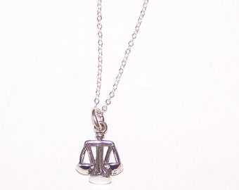 Sterling SCALES OF JUSTICE Pendant and Chain - 3D - Law, Courtroom, Judge, Lawyer, Clerk, Secretary, Paralegal