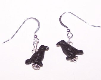 Sterling Silver 3D RAVEN Earrings -  Totem, Crow, Wildlife, Bird