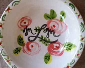 Handpainted Ceramic Bowl Gift for Bridesmaid Ring Bowl Monogramed Bowl Personalized Bowl