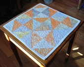 Quilted Table Topper  Batik Cream Orange Blue Candle Mat  Quilt Wallhanging