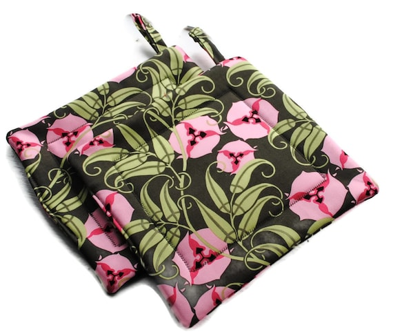 Handmade Quilted Pot Holders Set of 2 Amy Butler Pansies