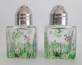 Salt and Pepper Shakers - Mini Handpainted Flowers & Bugs