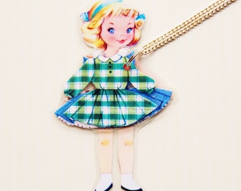 Polly Paper Doll Laminated Necklace