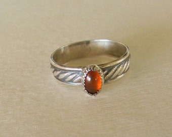 Sterling silver ring with amber gemstone