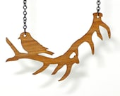 Antler Necklace Bird Natural Wood and Steel Reversible Pendant SALE