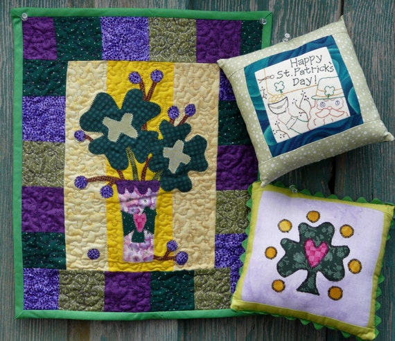 Shamrock St. Patricks day Stitchery E Pattern - Quilt wallhanging email Pdf primitive embroidery pillow