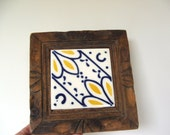 Vintage Wood and Mexican Ceramic Tile Trivet with yellow and blue design