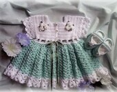 Crochet Pattern for Morning Glory Baby Dress with Booties