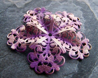 Purple Washed Patina Shabby Chic Gold Metal Large Filigree Dapped Flower Stamping-1