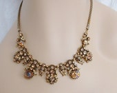 RESERVED Vintage Hollycraft COPR 1958 Necklace - Dragons Breath & Watermelon Rhinestones